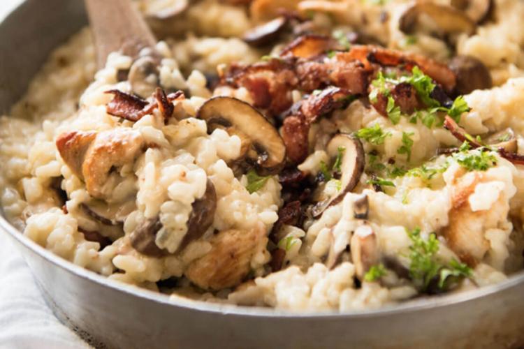 Rižoto od piletine i gljiva za ručak